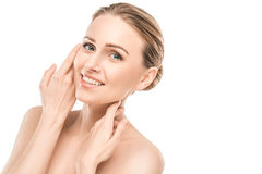 Mature woman beauty health care isolated on white. Mature female beauty health care studiio portrait smiling Stock Image