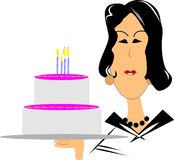 Mature woman with birthday cake Royalty Free Stock Photo
