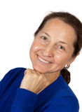 Mature woman in blue Royalty Free Stock Photo