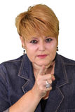Mature Woman Body Language - Accusing Royalty Free Stock Images