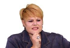 Mature Woman Body Language - Unsure Royalty Free Stock Images