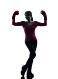 Mature woman with boxing gloves silhouette Royalty Free Stock Photo