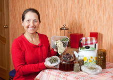 Mature woman brews herbs. In a teapot at home kitchen Stock Images