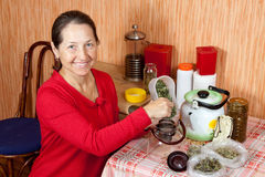 Mature woman brews herbs Stock Image