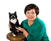 Mature woman with cat Stock Image