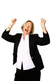 Mature woman celebrates. Mature woman with both arms up in gesture of jubilation or celebratory, isolated on white royalty free stock images
