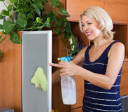 Mature woman cleaning glass door Royalty Free Stock Photos