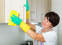 Mature woman cleaning Royalty Free Stock Image