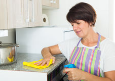 Mature woman cleaning Stock Photography
