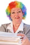 Mature woman in clown wig Stock Image