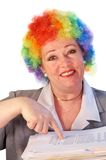 Mature woman in clown wig Royalty Free Stock Photos