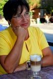 Mature woman coffee Stock Image