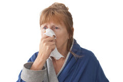 Mature Woman with Cold Stock Photo