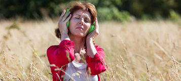 Mature woman comforting senses with music in summer grass field. Outdoors music - serene mature woman listening to music with earphones alone in high summer stock photography