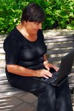 Mature woman computer Royalty Free Stock Images