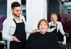 Mature woman contented haircut Royalty Free Stock Images