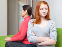 Mature woman and  daughter having conflict Royalty Free Stock Photos