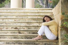Mature Woman Daydreaming Outdoor Stock Photos