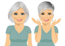 Mature woman with different hairstyles Royalty Free Stock Images