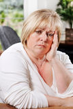 Mature woman distressed Royalty Free Stock Photography