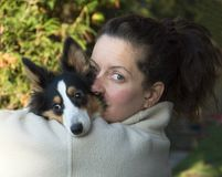 Mature Woman and dog Royalty Free Stock Photos