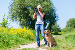 Mature woman with dog taking photos with a camera Stock Photos