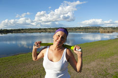 Mature woman doing exercise Royalty Free Stock Photo