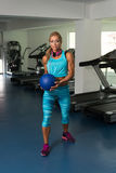 Mature Woman Doing Exercise With Medicine Ball royalty free stock images