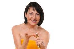 Mature woman doing rejuvenation spa procedure Stock Image
