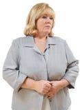 Mature woman downcast stock images
