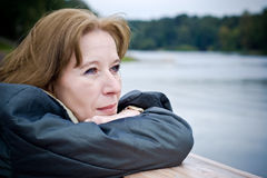Mature woman dreaming Royalty Free Stock Photo