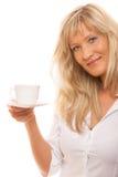 Mature woman drinking tea or coffee.. Stock Image