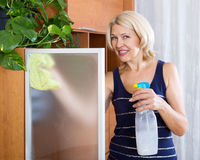 Mature woman dusting glass Royalty Free Stock Photos