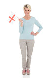 Mature woman england flag Stock Photo