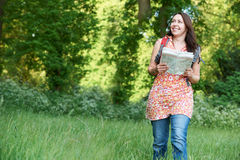 Mature Woman Enjoying Hike In Countryside Stock Photos