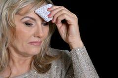 Mature woman feel bad Stock Photos