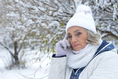 Mature woman feeling bad. Have a headache Royalty Free Stock Photos