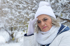 Mature woman feeling bad. Have a headache Royalty Free Stock Photography