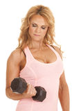 Mature woman fitness curl close Royalty Free Stock Image