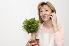 Mature woman florist Royalty Free Stock Image