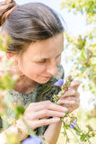 Mature Woman and Flower Stock Images