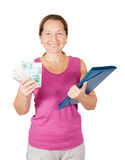 Mature woman  with  folder and money Stock Images