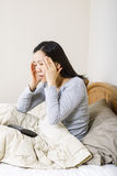 Mature woman frustrated while trying to sleep Royalty Free Stock Images