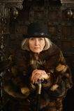 Mature woman in fur Royalty Free Stock Images