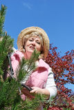 Mature woman gardening Royalty Free Stock Photography