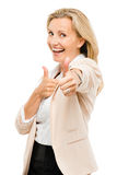 Mature woman giving thumbs up sign isolated on white background. Happy mature woman showing thumbs up sign Royalty Free Stock Image