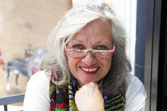Mature woman with glasses Stock Photography