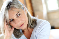 Mature woman with grey hair Stock Photos