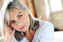 Mature woman with grey hair Stock Photos