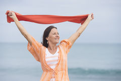 Mature woman happy friendly outdoor stock images